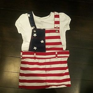 4th of July overall skirt  and shirt 3t